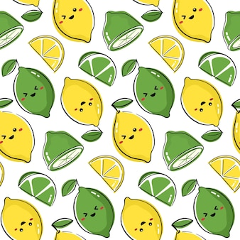 Naadloos patroonontwerp met leuke fruitkarakters. herhaal tegel met kawaii citroen- en limoentekening.