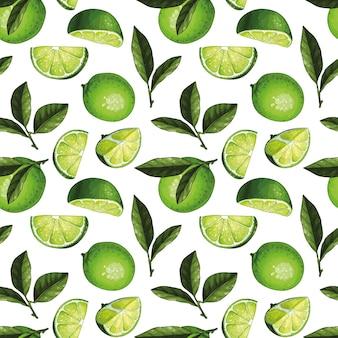 Naadloos patroonontwerp met limoenillustraties. hele limoenen met plakjes en bladeren.