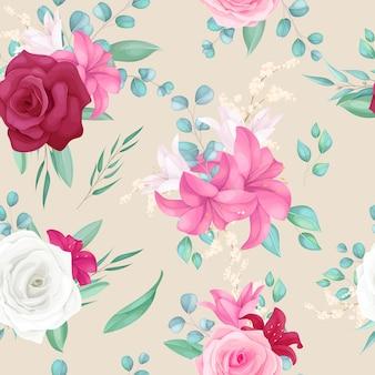 Naadloos patroonontwerp met mooie roos en leliebloem