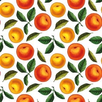 Naadloos patroonontwerp met perziken en bladeren. hele perziken met bladeren.