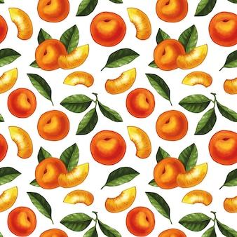 Naadloos patroonontwerp met perziken en bladerenillustraties. hele perziken met plakjes en bladeren.