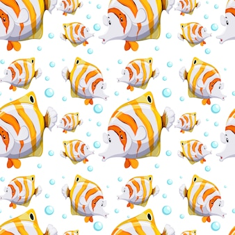 Naadloos patroonontwerp met vissen en bellen