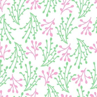 Naadloos patroonontwerp van roze en groene takken.