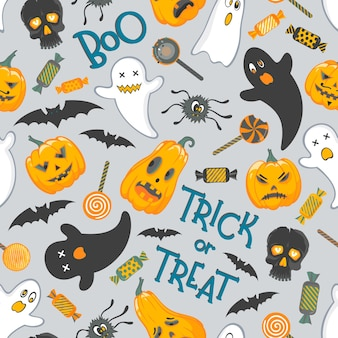 Naadloos patroonpatroon met grappige halloween-karaktersbelettering en snoep