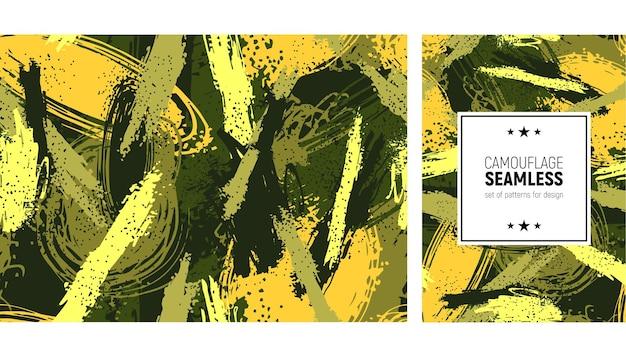 Naadloos penseelstreekpatroon. camouflage achtergrond