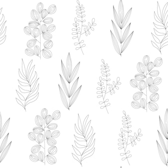 Naadloos plantenpatroon van verschillende soorten veldgrassen en takken