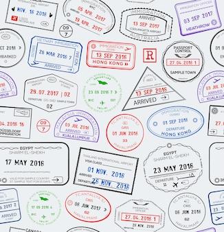 Naadloos reispatroon met stempels voor visumpaspoorten