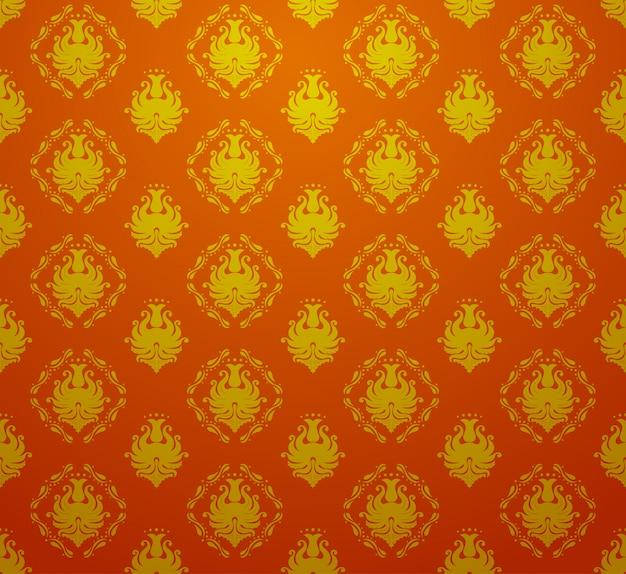 Naadloos retro uitstekend vectorial barok naadloos patroonbehang in rode en gouden kleur