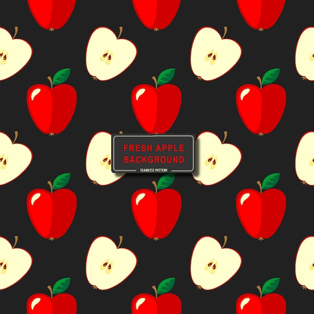 Naadloos rood appelspatroon op zwart achtergrond vectorillustratieontwerp als achtergrond
