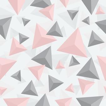 Naadloos roze en grijs geometrisch driehoekspatroon