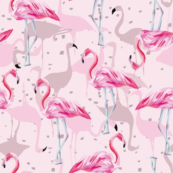 Naadloos roze flamingo patroon