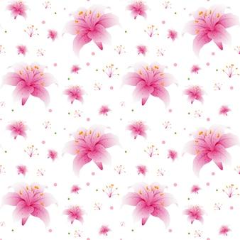 Naadloos roze leliebehang
