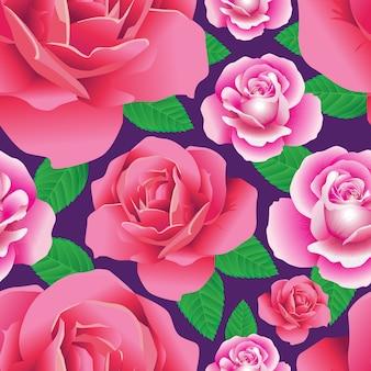 Naadloos rozenpatroon op paars