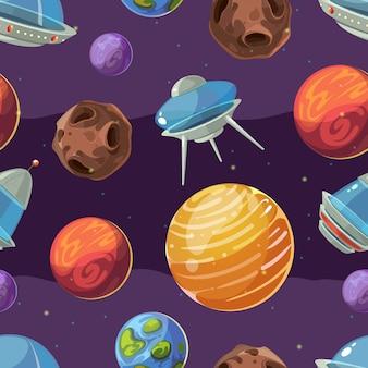 Naadloos ruimtekindpatroon met planeten en ruimteschepen.