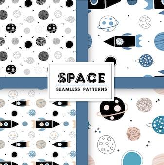 Naadloos ruimtepatroon met raketten en planeten.