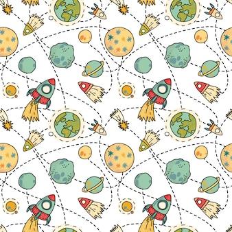 Naadloos ruimtepatroon met raketten, komeet en planeten. kinderachtig hand getekende illustratie.