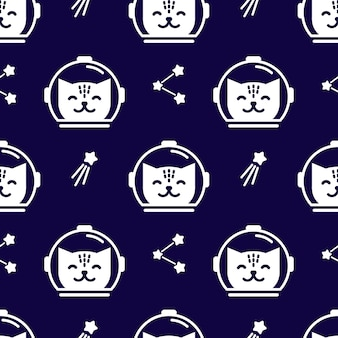 Naadloos ruimtepatroon met schattige katten-astronauten