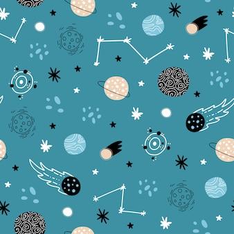 Naadloos ruimtepatroon. raketten, sterren, planeten, het zonnestelsel, sterrenbeelden, kosmische elementen.