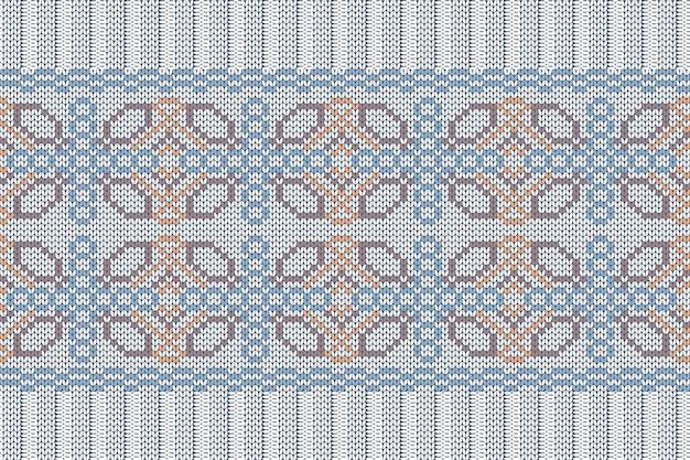 Naadloos scandinavisch breipatroon in blauwe, oranje, bruine, grijze kleuren.