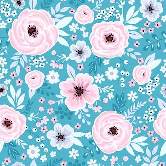 Naadloos schattig bloemenbehang in vintage stijl