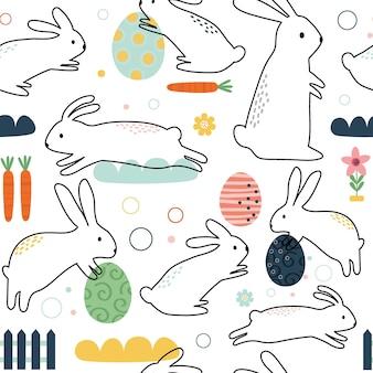 Naadloos schattig konijntje met ontwerp in doodle-stijl