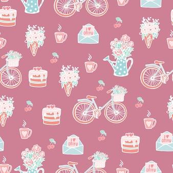 Naadloos schattig patroon voor geliefden of bruiloftsmeisjes roze patroon met elementen
