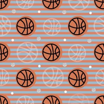 Naadloos sportpatroon op streepachtergrond van basketbal