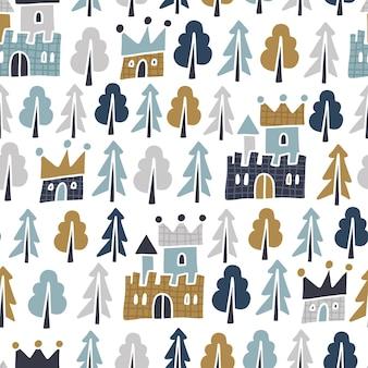 Naadloos terugkeerpatroon met sprookjeskastelen en bos. scandinavisch kinderkamerontwerp. platte vectorillustratie.