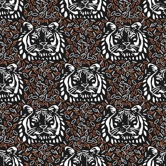 Naadloos terugkeerpatroon met tijgergezicht op abstracte achtergrond. vectorillustratie handgetekende.