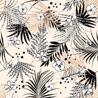 Naadloos tropisch bloemenpatroon met bloem en houndstooth opvulbladeren.