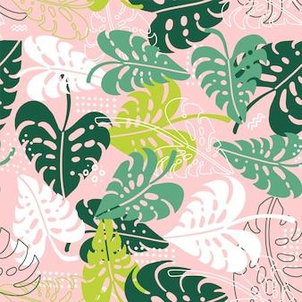 Naadloos tropisch patroon. bladeren van de illustratie van palmboommonstera. lichte flat en lijn achtergrond
