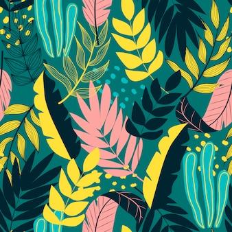 Naadloos tropisch patroon met planten en bladeren