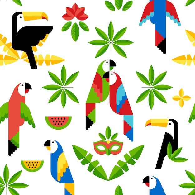Naadloos tropisch patroon met vogels.