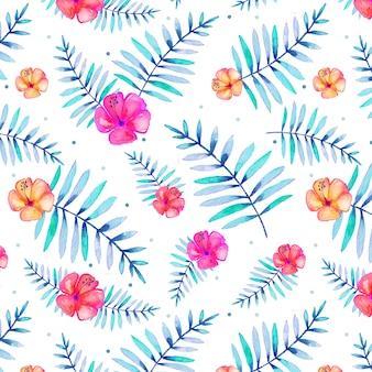 Naadloos tropisch patroon met waterverfbladeren en bloemen