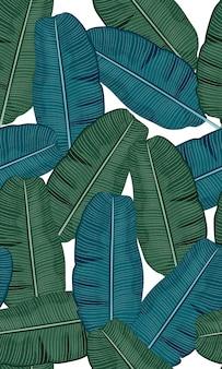 Naadloos turkoois en groen tropisch patroon met banaanbladeren