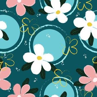 Naadloos uitstekend hand getrokken bloemenpatroon