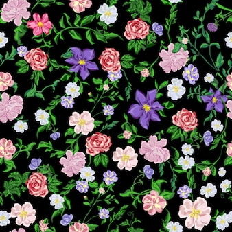 Naadloos uitstekend patroon met boeketbloemen