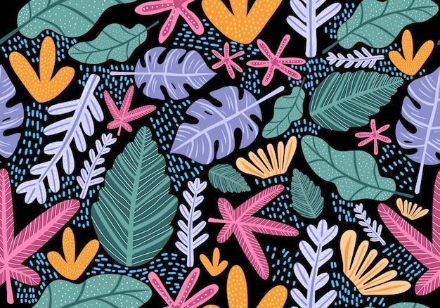 Naadloos uitstekend patroon met heldere kleurrijke bloemen.
