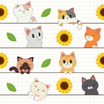 Naadloos van kat met zonnebloem