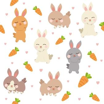 Naadloos van schattig konijn en wortel op de achtergrond.