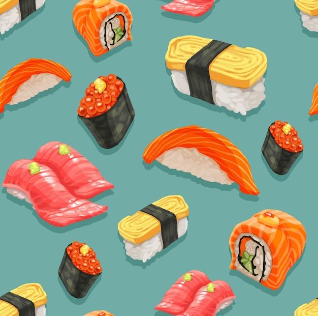 Naadloos van sushi en japans voedselpatroon.