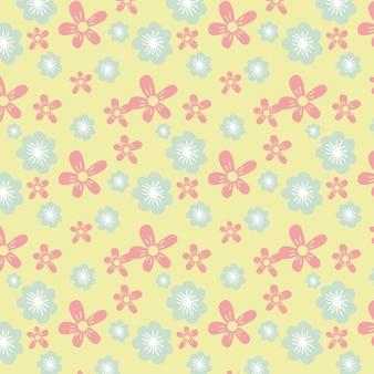Naadloos vector bloemenpatroonontwerp op gele achtergrond