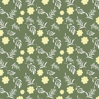 Naadloos vector bloemenpatroonontwerp op groene achtergrond