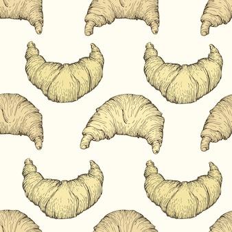 Naadloos vectorpatroon met croissant.