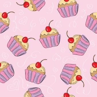 Naadloos vectorpatroon met cupcakes - leuke achtergrond