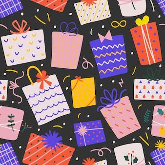 Naadloos vectorpatroon met de dozen van de kerstmisgift