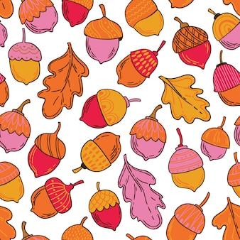 Naadloos vectorpatroon met eikels en bladeren