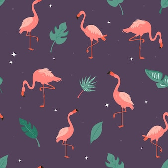 Naadloos vectorpatroon met flamingo's en tropische bladeren. geschikt voor stof, textielprints, geschenkverpakkingen