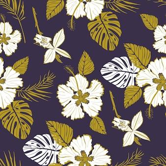 Naadloos vectorpatroon met grote witte bloemen en tropische bladeren
