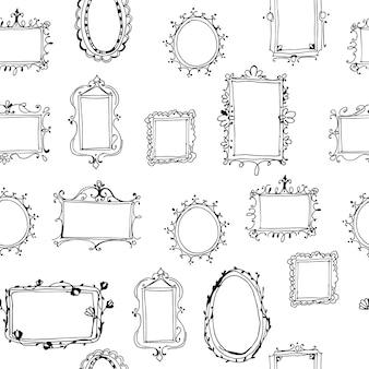 Naadloos vectorpatroon met hand getrokken kaders.